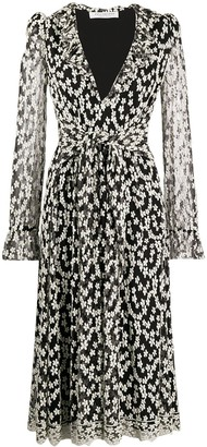 Philosophy di Lorenzo Serafini Floral Embroidered Tie-Waist Dress