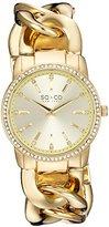 SO&CO New York Women's 5071.3 SoHo Quartz Crystal Accent 23K Gold-Tone Chain Link Bracelet Watch