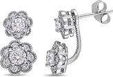 Laura Ashley 1 CT TW Diamond 10K White Gold 2-Piece Stud Earrings with Jackets