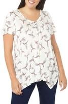 Evans Plus Size Women's Bird Print Pintuck Top