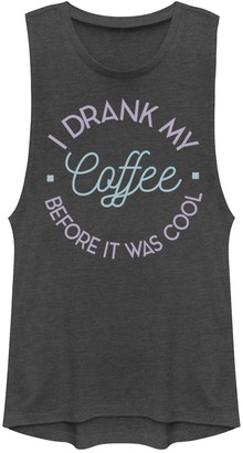"""Juniors' """"I Drank My Coffee Before It Was Cool"""" Muscle Tee"""