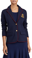 Lauren Ralph Lauren Bullion Crest Sweater Blazer, Navy/Red Sangria