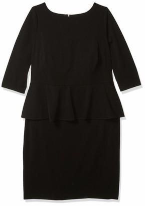 Calvin Klein Women's Plus Size Three Quarter Sleeve Sheath with Peplum