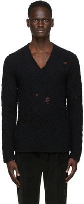 Dolce & Gabbana Black Wool Distressed Sweater