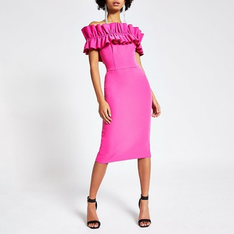 River Island Pink ruffle bardot midi bodycon dress