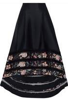 Sachin + Babi Picot-Trimmed Lattice Floral Print-Paneled Satin-Twill Maxi Skirt