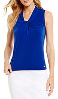 Calvin Klein Petites V-Neck Sleeveless Solid Matte Jersey Shell