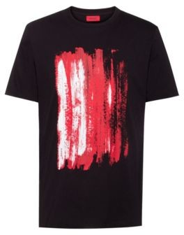 HUGO BOSS Abstract Print Slim Fit T Shirt In Cotton Jersey - Black