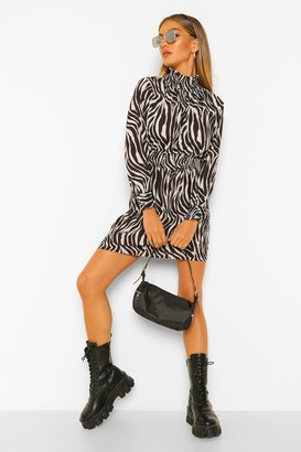 boohoo Zebra Shirred Neck and Waist Skater Dress