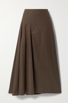 BITE Studios Paneled Organic Cotton-poplin Maxi Skirt - Dark brown