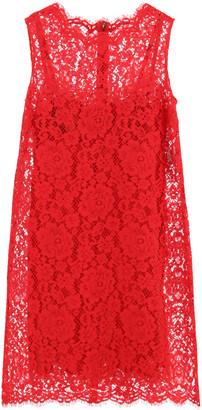 Dolce & Gabbana CORDONETTO LACE MINI DRESS 38 Red Cotton