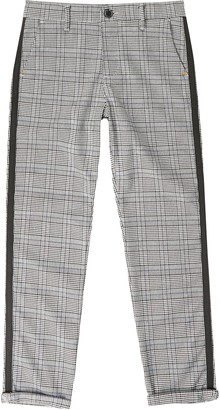 River Island Boys Grey check tape side trousers