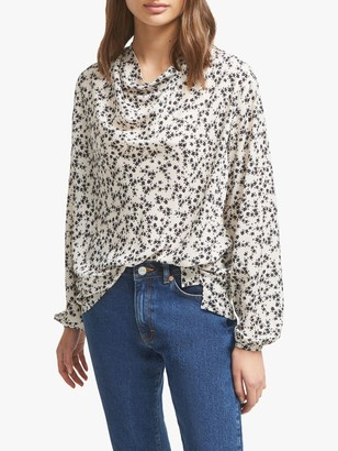 French Connection Bruna Floral Print Long Sleeve Top,Classic Cream/Black