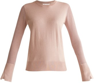 Paisie Soft Knitted Top With Sheer Sleeves & Cuff Splits In Blush
