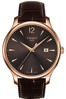 Tissot Women's 'Tradition' Swiss Quartz Gold and Leather Automatic Watch, Color:Brown (Model: T0636103629700)