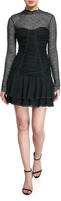 Jonathan Simkhai Mixed Silk Lace Mock-Neck Ruched Dress