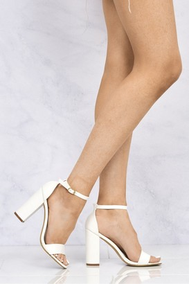 Miss Diva May Barely There Block Heel Ankle Strap Sandal In White Matt