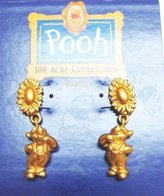 Disney Winnie The Pooh Golden Sunflower Earrings