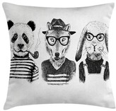 """Hipster Panda Cigar Fox Square Pillow Cover East Urban Home Size: 16"""" x 16"""""""