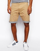 Brave Soul Chino Shorts Stripe Turn Up