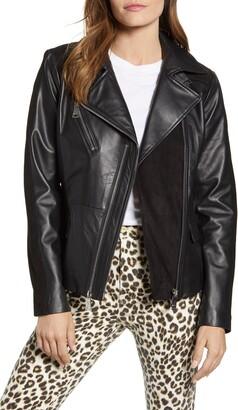 Bernardo Suede Detail Leather Moto Jacket