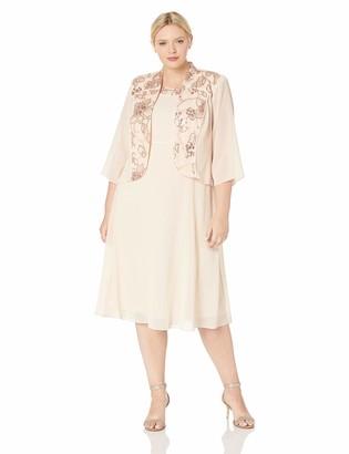 Le Bos Women's Plus Size Floral Embellished Jacket Dress