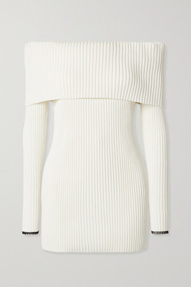 Proenza Schouler Off-the-shoulder Ribbed-knit Sweater - Off-white