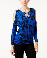 Thalia Sodi Printed Dolman-Sleeve Lace-Up Top, Only at Macy's