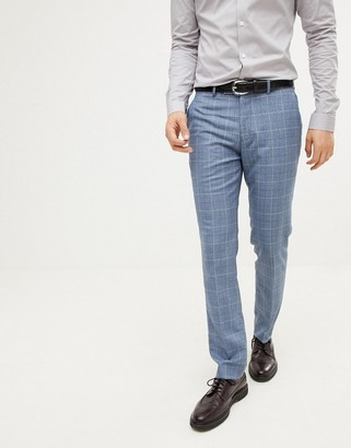 Farah Smart skinny smart trousers in check texture-Blue