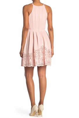 Vince Camuto Halter Neck Laser Cut Scuba Fit & Flare Dress