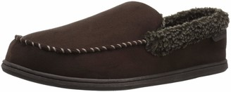 Dearfoams Men's Microsuede Moc with Whipstitch and Memory Foam Slipper