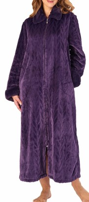 Slenderella Ladies Soft Thick Grey Velvet Fleece Faux Fur Collared Zip Up Bath Robe Dressing Gown House Coat Small 10 12