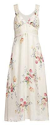 LoveShackFancy Women's Sabina Floral Silk Slip Dress - Size 0