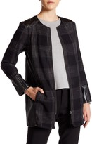 Susina Defined Twill & Faux Leather Topper Coat