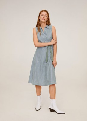 MANGO Striped shirt dress green - 6 - Women