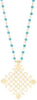 Blue & Goldtone Openwork Diamond Pendant Necklace