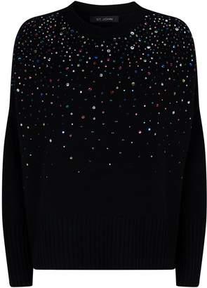 St. John Crystal-Embellished Cashmere Sweater