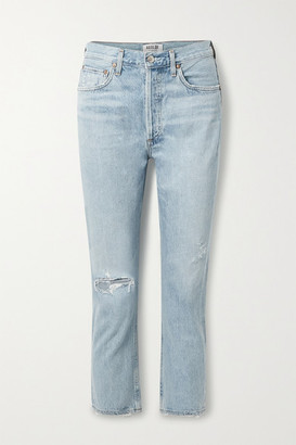 AGOLDE Riley Cropped Distressed High-rise Straight-leg Jeans - Light denim