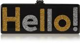 Edie Parker Flavia Hello! glittered acrylic box clutch