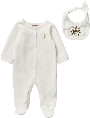 Juicy Couture Quilted Footed Coverall with Bib (Baby Girls)