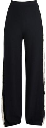 Stella McCartney Monogram Wide-Leg Wool & Silk Trousers