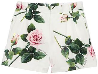 Dolce & Gabbana Rose Print Cotton Poplin Shorts