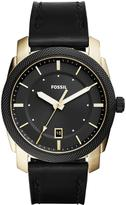 Fossil Machine Black Dial Black Leather Strap Mens Watch