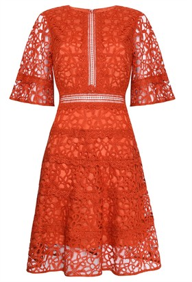 True Decadence Orange Lace Cut Work Midi Dress