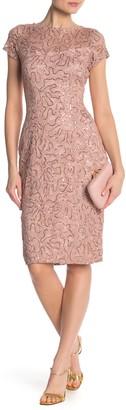 Marina Sequin Lace Cap Sleeve Sheath Dress