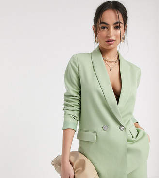 Vero Moda exclusive tailored blazer co ord with deco buttons in green