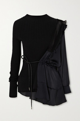Sacai Asymmetric Paneled Ribbed Cotton And Ruffled Satin Top - Black