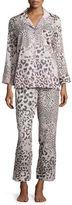 Natori Animal-Print Cotton Pajama Set, Light Pink/Natural