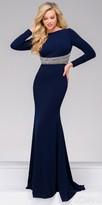 Jovani Fitted Long Sleeve Embellished Keyhole Evening Dress