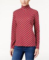 Karen Scott Printed Turtleneck Top, Only at Macy's